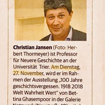 Hinweis zur gesellschaftspolitischen Diskussionsrunde mit Prof. Jansen
