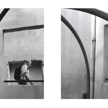 Fotografie, Diptichon. Fenster, an denen man vorbeigeht, die sich öffnen ..., Spannungsbögen, die die Welt zusammenhalten...