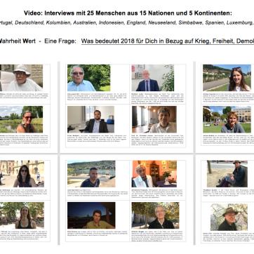 Videoinstallation 25 Interviews: Wie fühlt es sich an 100 Jahre danach ...